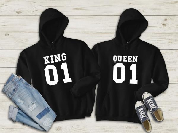 Hanorace cuplu personalizate - Kind and queen 3 0