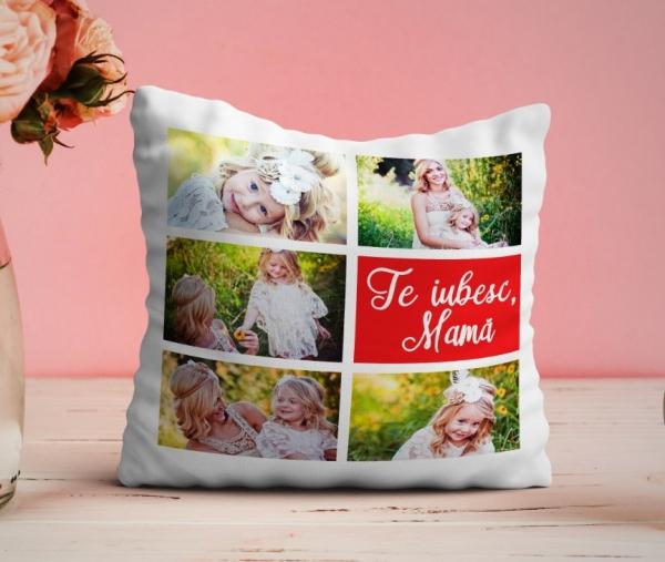 Perna personalizata cu 5 poze - Te iubesc mama