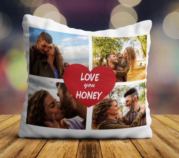 Perna personalizata - I love you honey cu 4 poze
