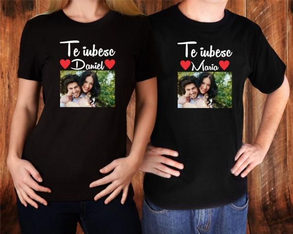 Set Tricouri Cuplu Personalizate - Te iubesc cu Nume si Poza 1