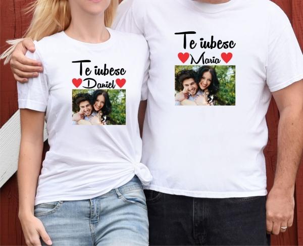 Set Tricouri Cuplu Personalizate - Te iubesc cu Nume si Poza 0