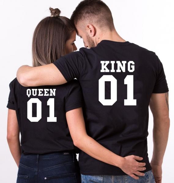 Tricouri Cuplu Personalizate - King and Queen